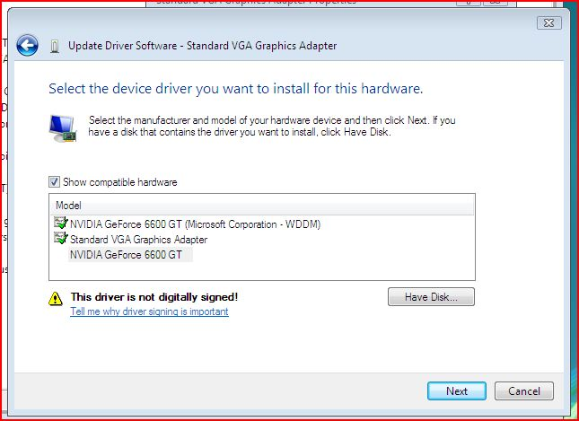 conflicting graphics drivers in windows vista hardware